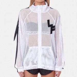 💙5/$30 LF White Mesh Netted Track Jacket Small